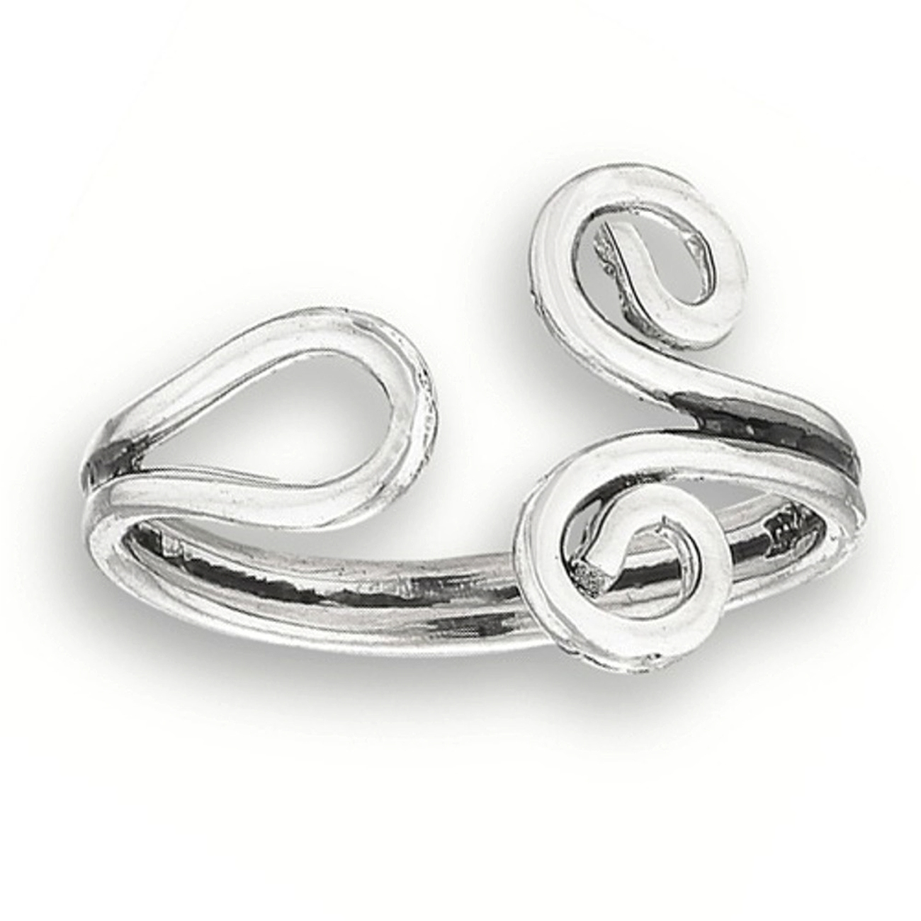 Bypass Wrap Curled Ends Adjustable Wire Toe Ring
