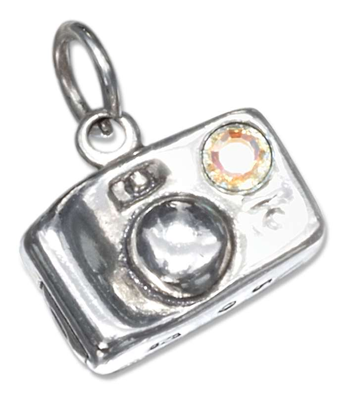 3D Camera Charm With Crystal Flash