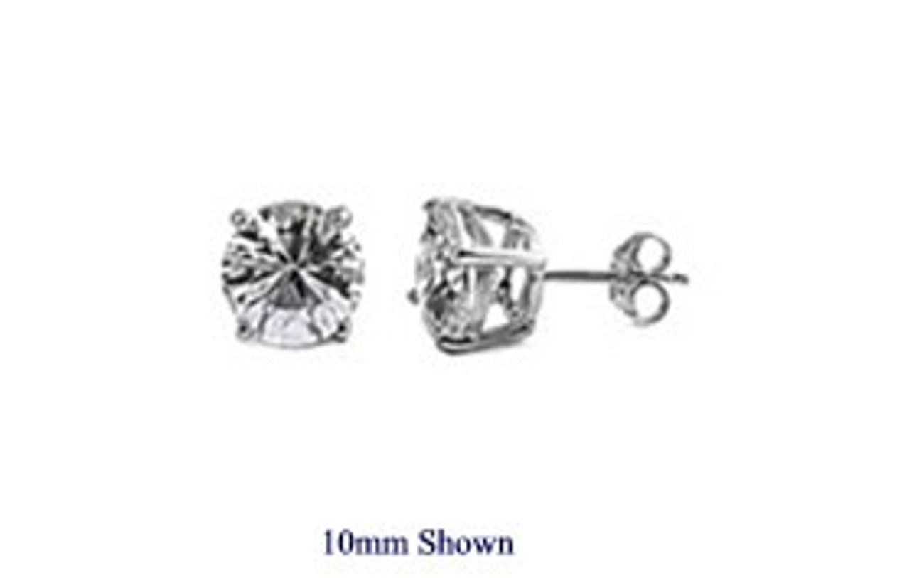 Mens 5mm Round Clear Cubic Zirconia Casting Prong Setting Earrings