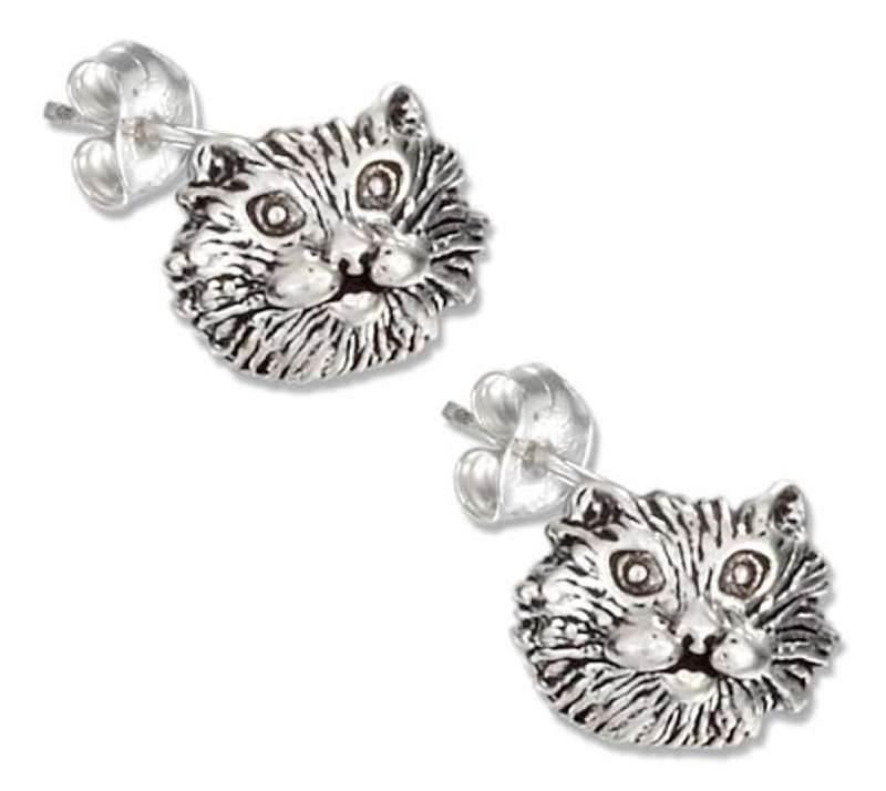 Cat Face Post Earrings