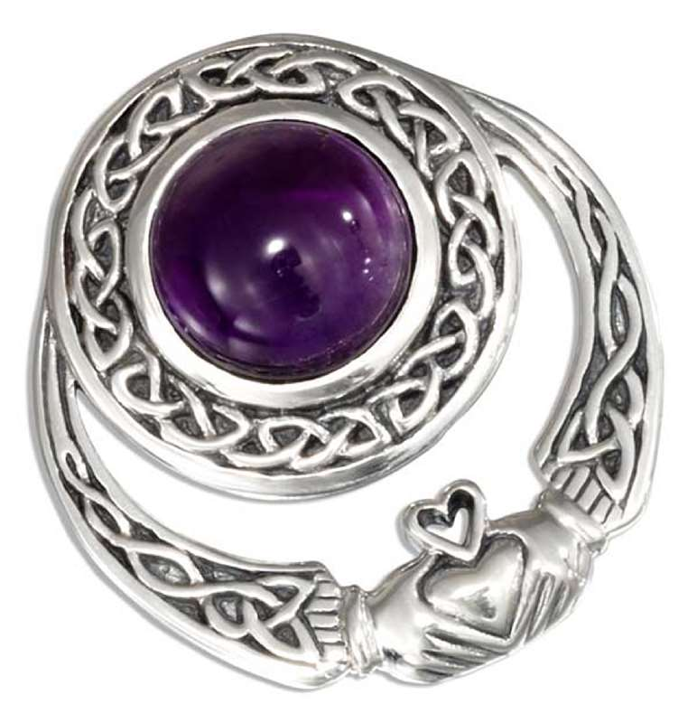 Celtic Claddagh Slide Pendant 10mm Round Amethyst Cabochon