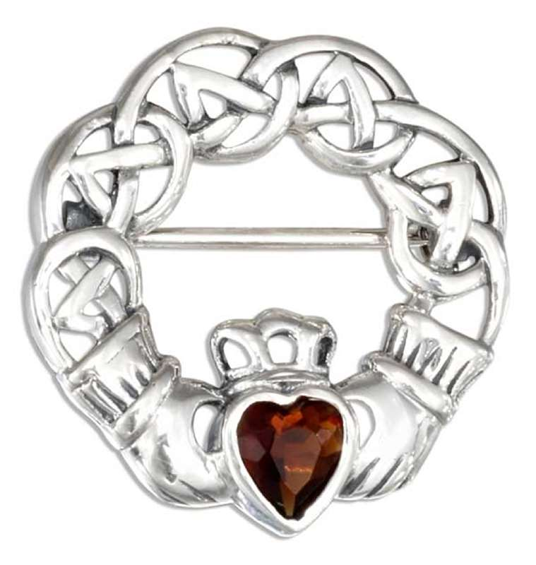 Garnet Claddagh Brooch Pin