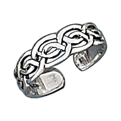 Sterling Silver Men's Celtic Open Weave Adjustable Band Toe Ring