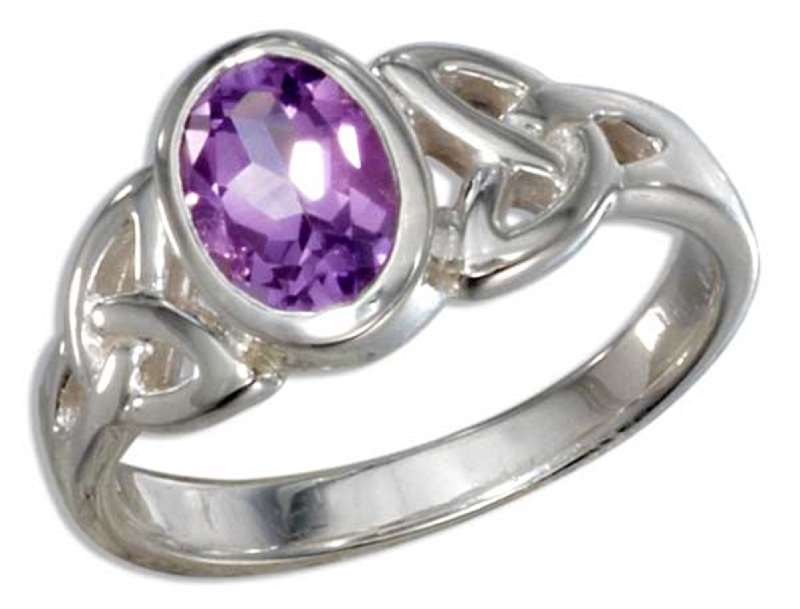 Celtic Trinity Knot Amethyst Solitaire Ring
