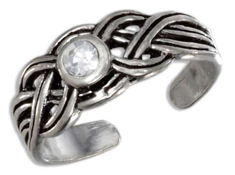 Celtic Weave Braided Center Crystal Adjustable Toe Ring