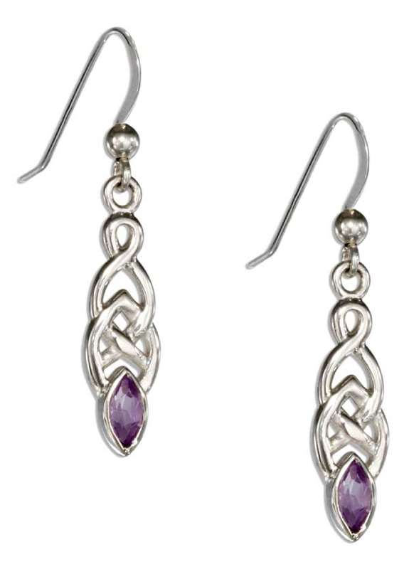 Celtic Weave Dangle Earrings Marquise Shaped Amethyst