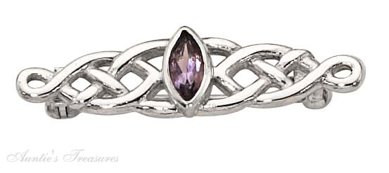 Amethyst Celtic Weave Brooch Pin