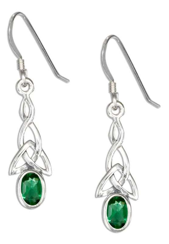 Celtic Green Cubic Zirconia Earrings