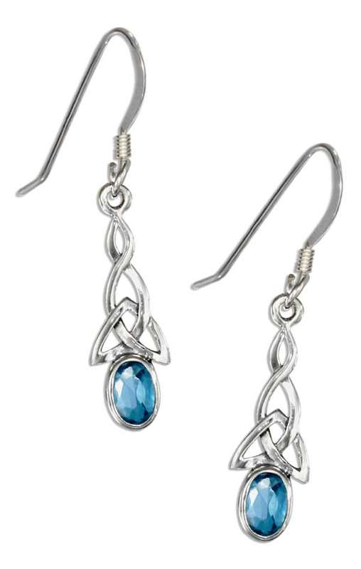 Celtic Imitation Blue Topaz Earrings