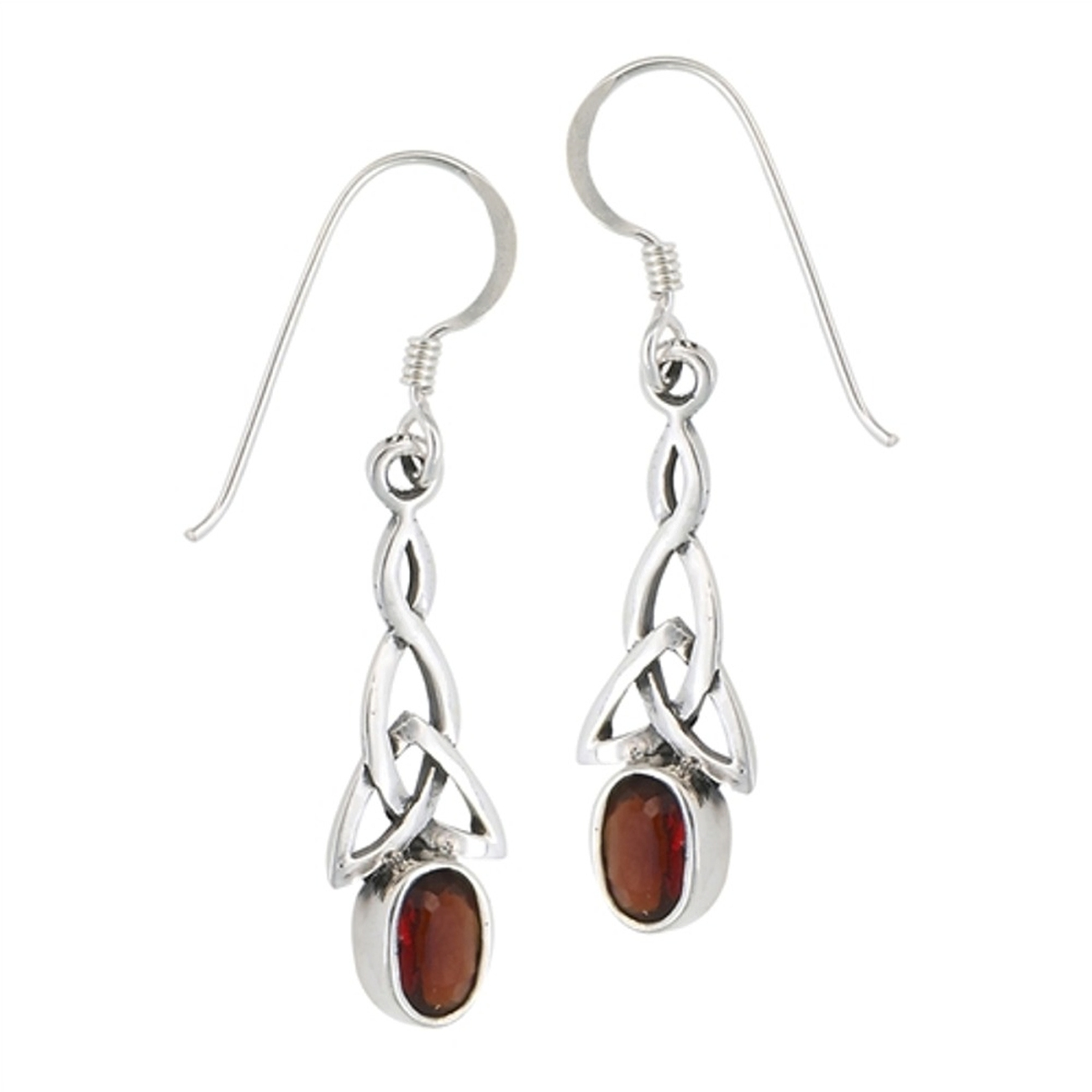 Ea 3143 Celtic Imitation Garnet Earrings