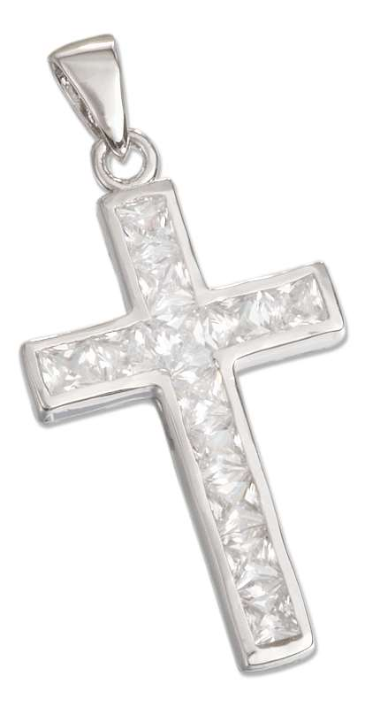 Channel Set Cubic Zirconia Christian Religious Cross Pendant