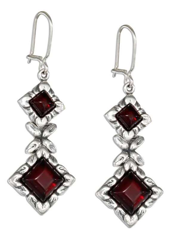 Cherry Red Amber Diamond Shape Stone Earrings