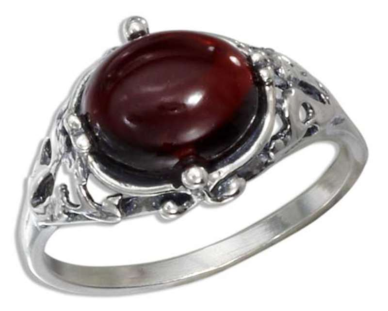 Cherry Red Amber Filigree Ring