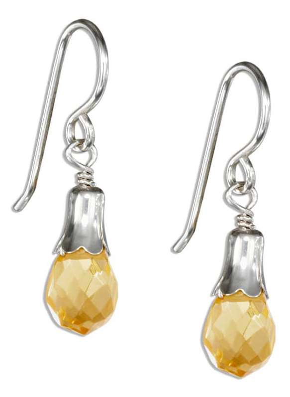 Citrine Colored Briolette Teardrop Dangle Earrings