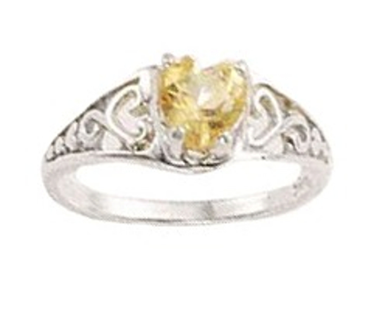 Filigree Band Solitaire Citrine Heart Ring