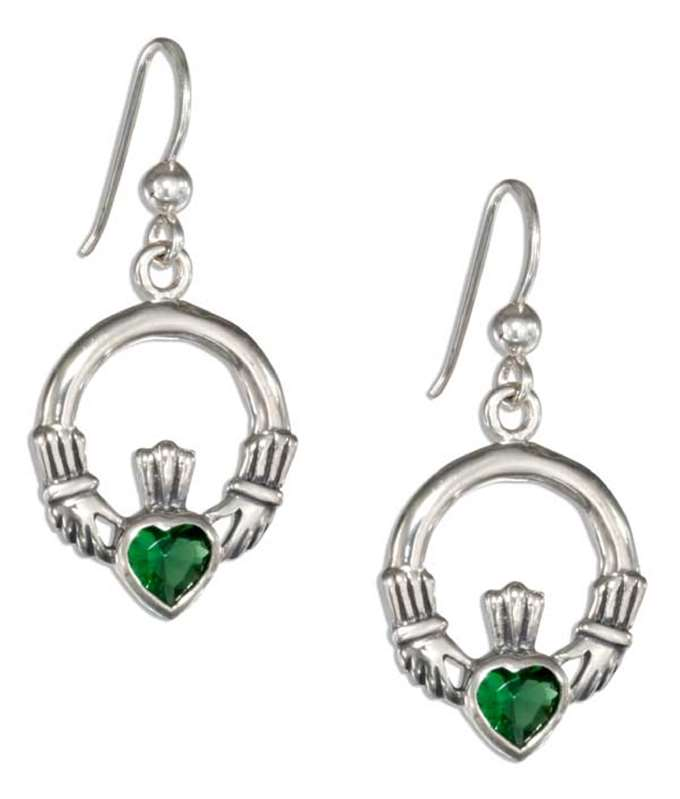 Claddagh Dangle Earrings Emerald Glass Hearts