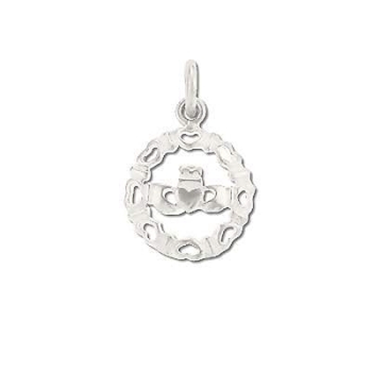 Curved Round Claddagh Surrounded By Hearts Charm
