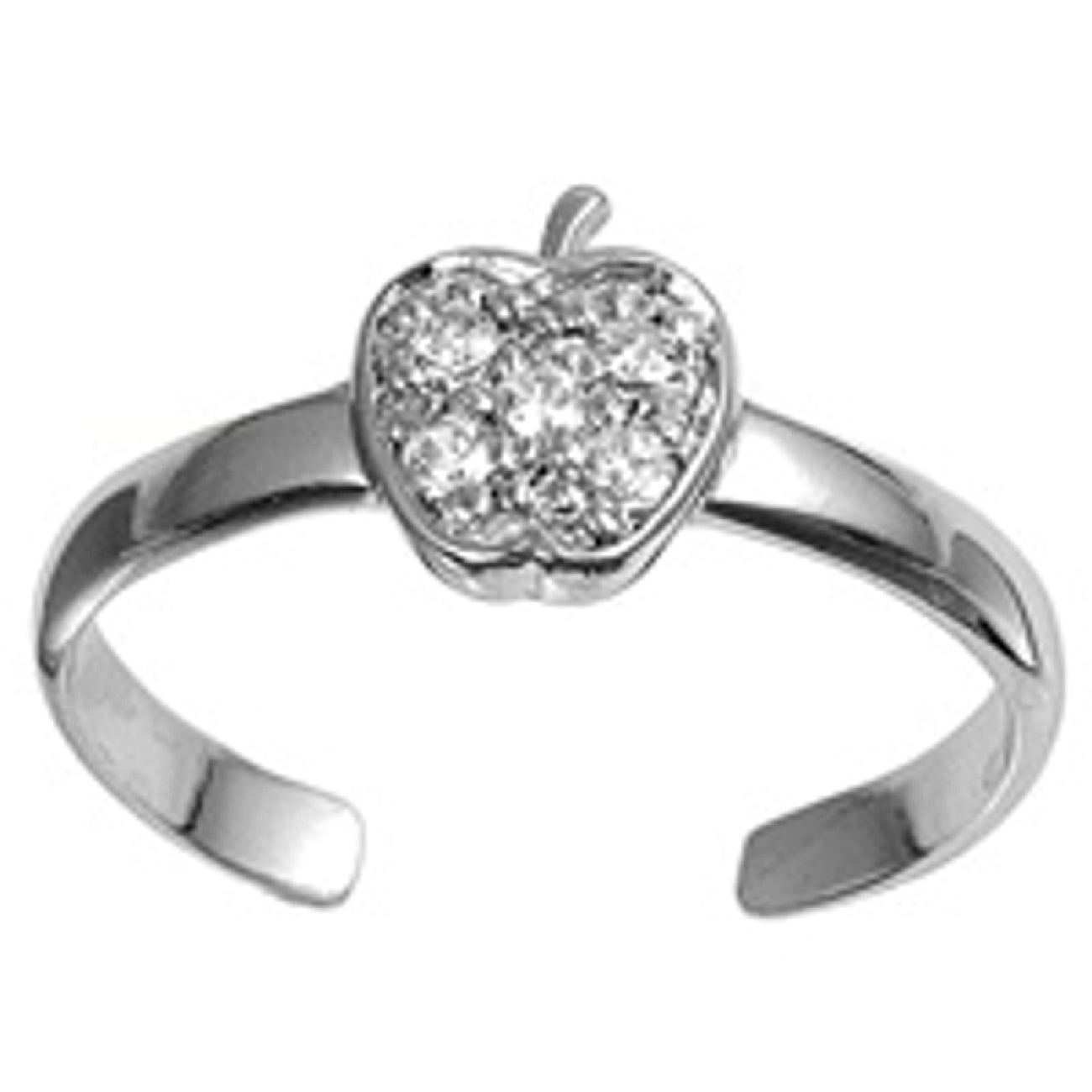 Clear Cubic Zirconia Apple Adjustable Toe Ring