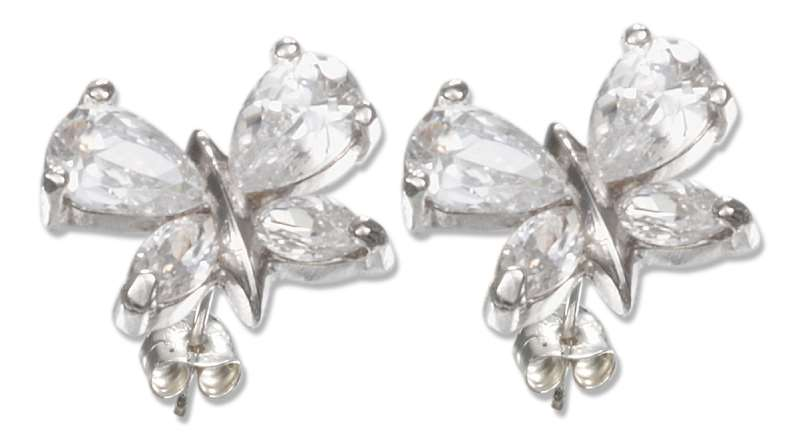 Cubic Zirconia Butterfly Post Earrings