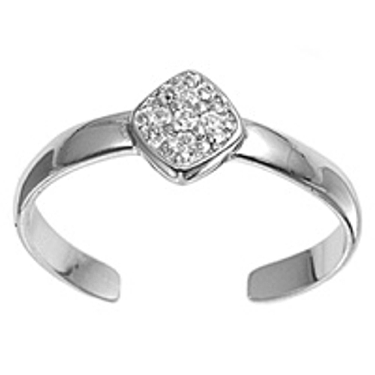Clear Cubic Zirconia Diamond Shape Adjustable Toe Ring