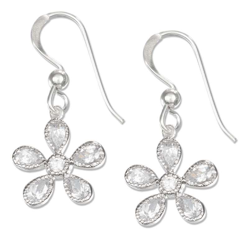 Cubic Zirconia Flower Dangle Earrings