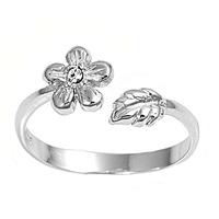 Clear Cubic Zirconia Flower And Leaf Adjustable Bypass Wrap Toe Ring