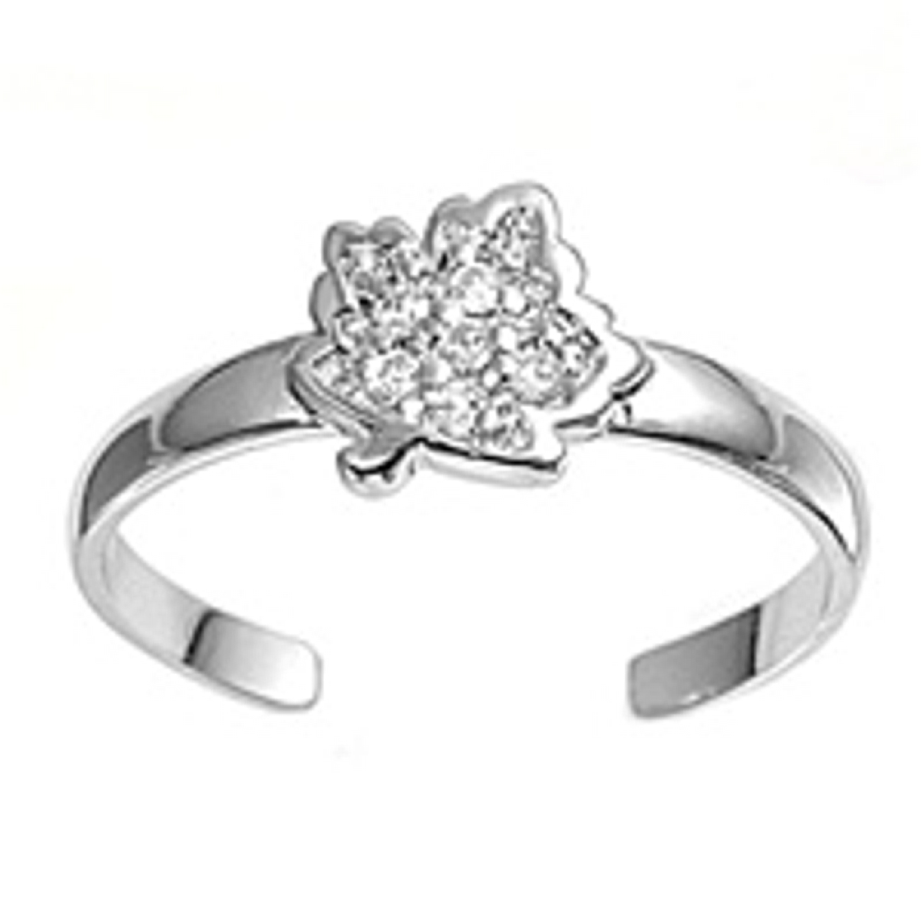 Clear Cubic Zirconia Leaf Adjustable Toe Ring