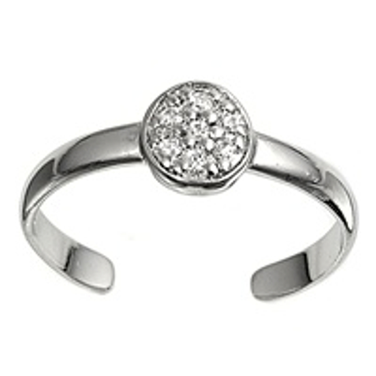 Clear Cubic Zirconia Round Top Adjustable Toe Ring