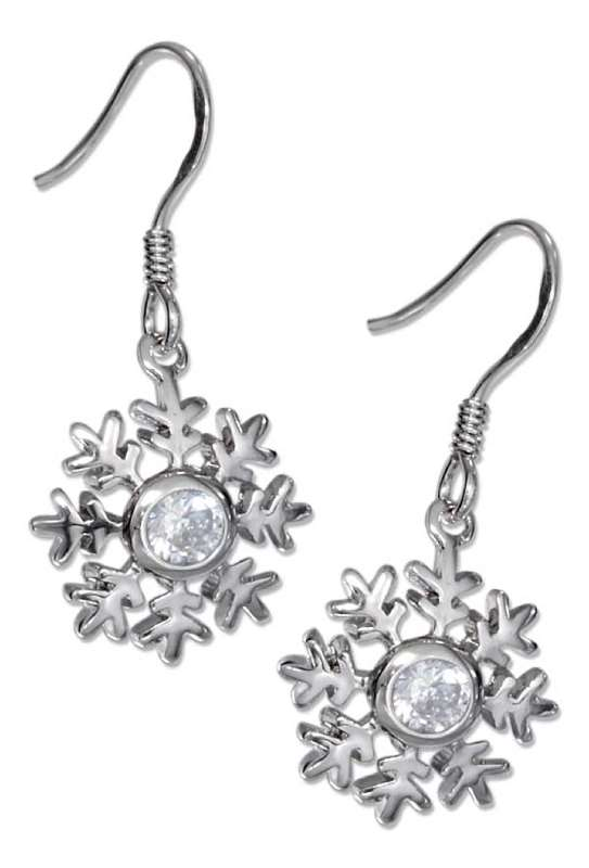 Cubic Zirconia Snowflake Dangle Earrings