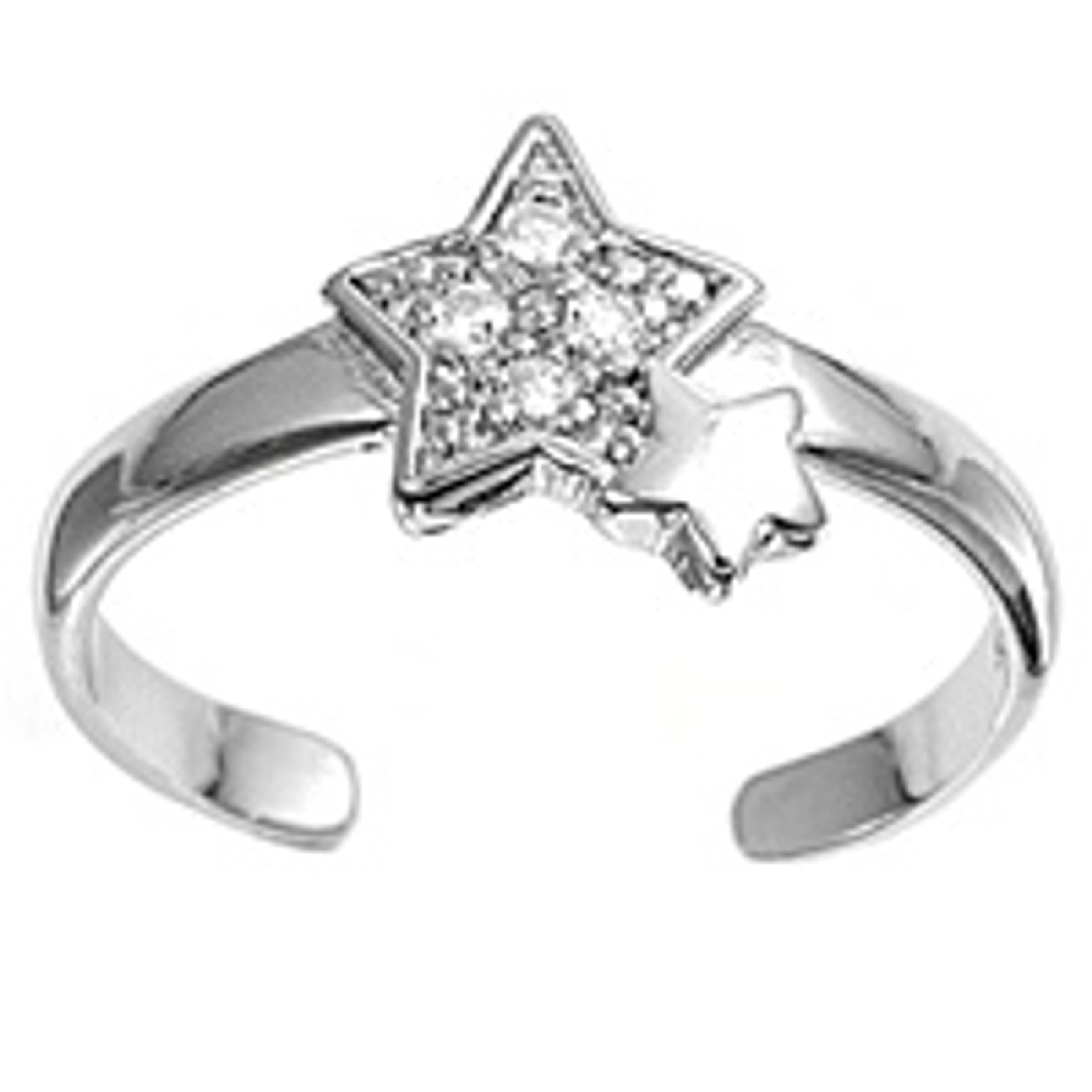 Star With Clear Cubic Zirconia And Plain Star Adjustable Toe Ring