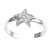 Clear Cubic Zirconia Starfish Or Celestial Star Adjustable Toe Ring