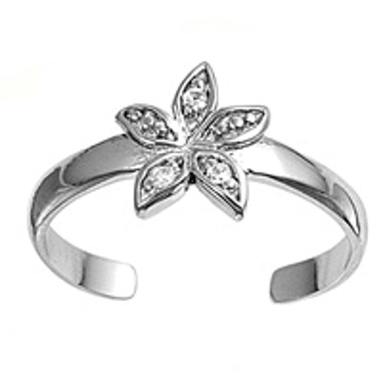 Clear Cubic Zirconia Starfish Or Flower Adjustable Toe Ring