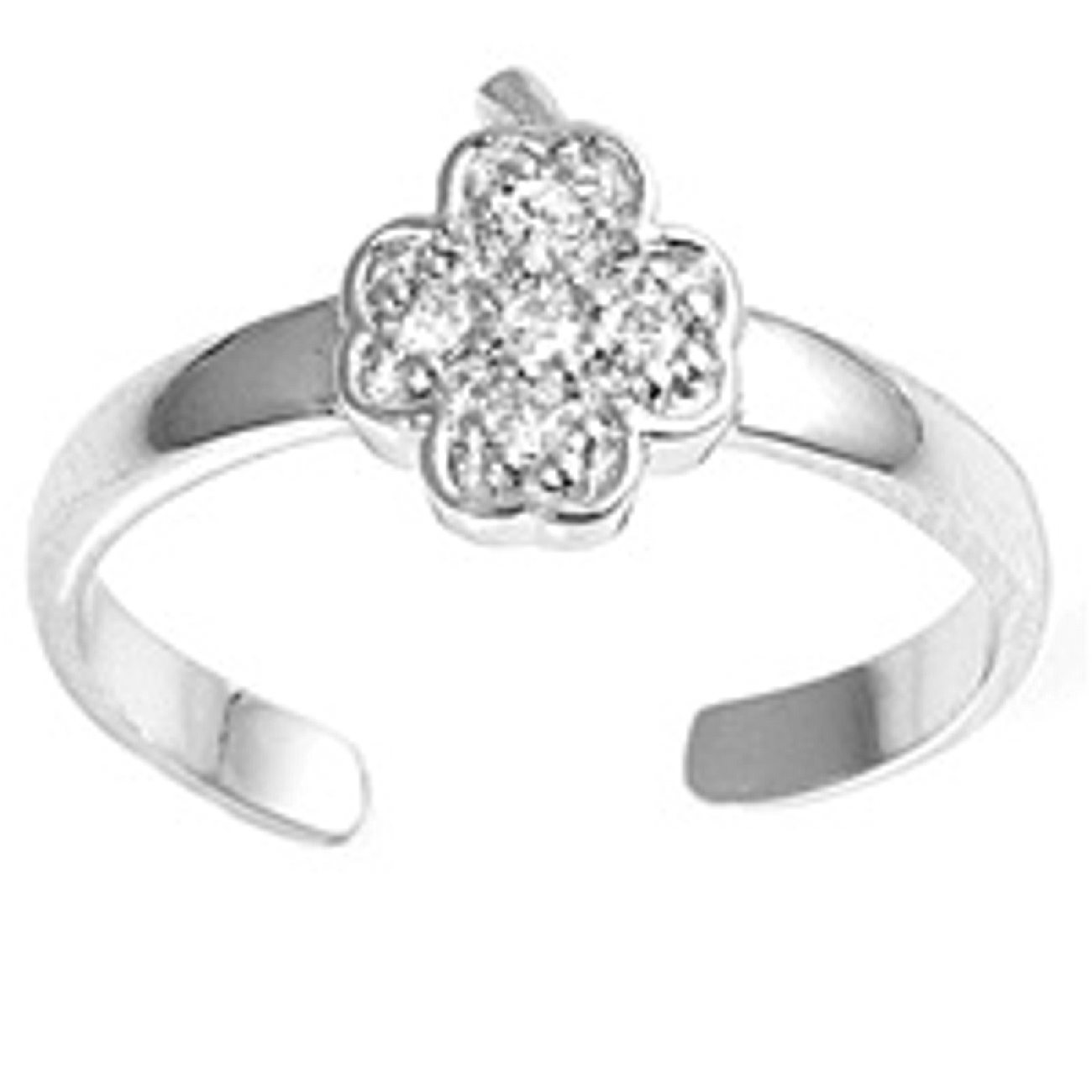Clear Cubic Zirconia Stones Four Leaf Clover Adjustable Toe Ring