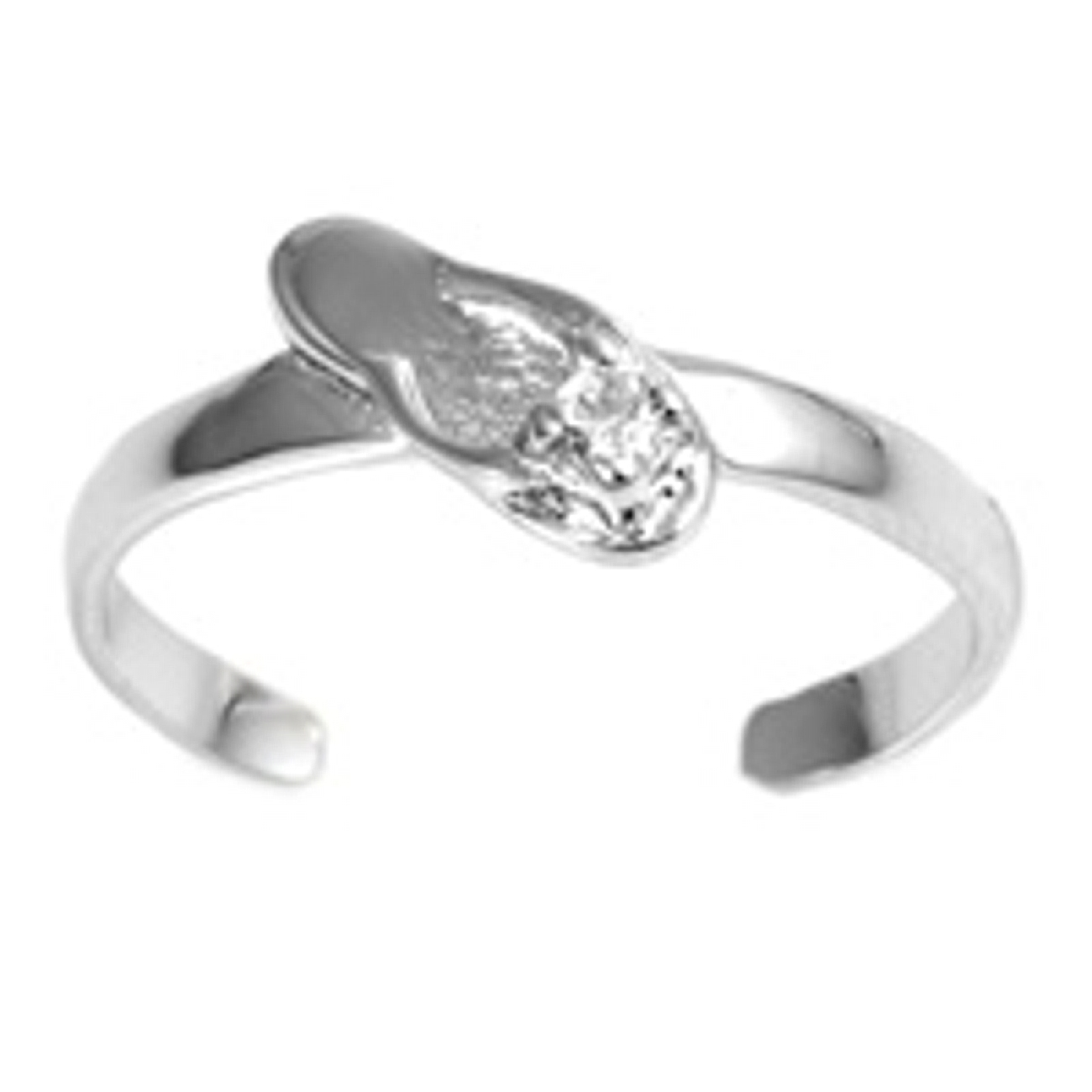 Clear Cubic Zirconia Flip Flop Adjustable Toe Ring