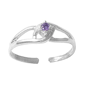 Purple Amethyst Cubic Zirconia Clutched Adjustable Toe Ring