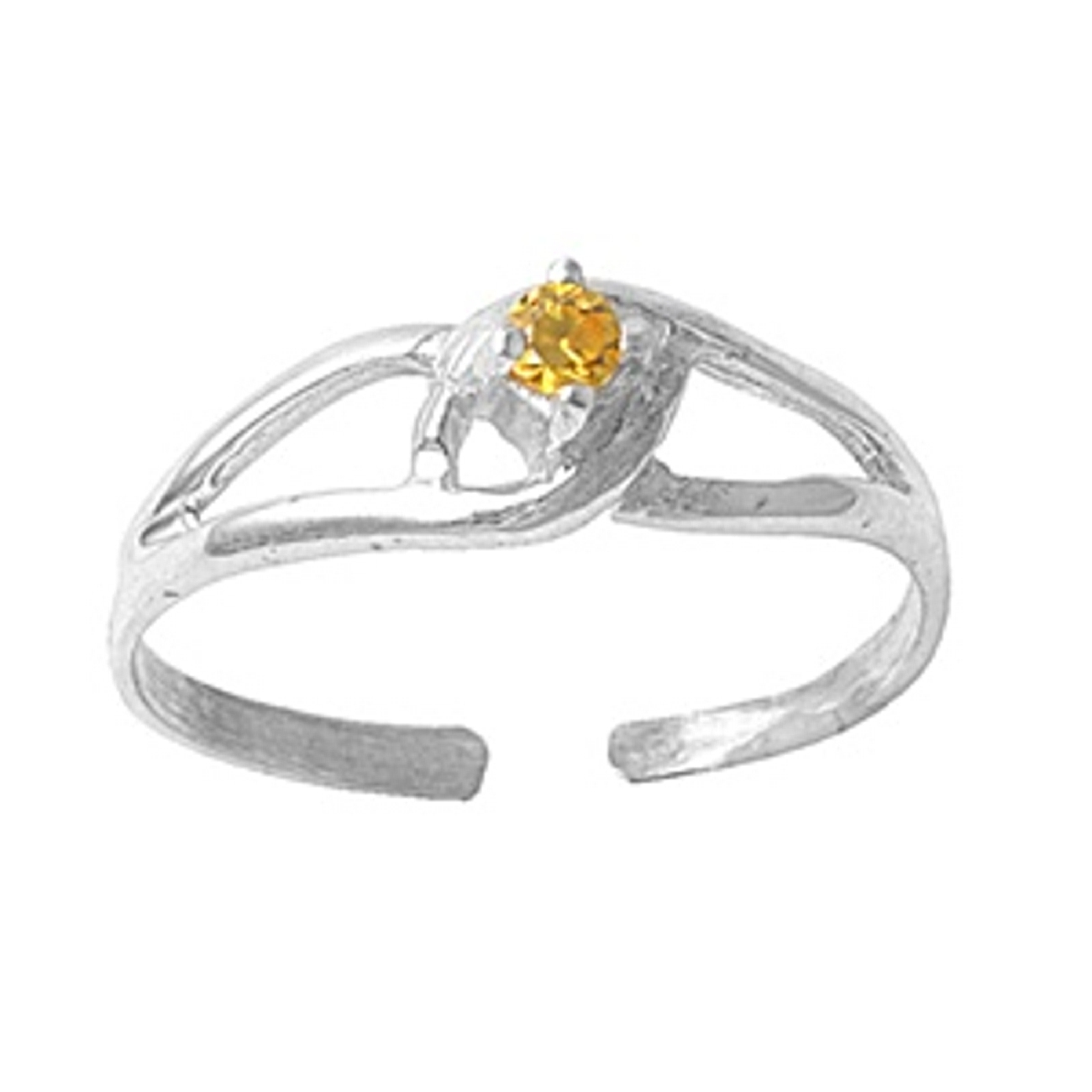 Yellow Citrine Cubic Zirconia Clutched Adjustable Toe Ring