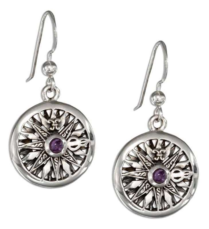 Compass Rose Amethyst Gemstone Earrings