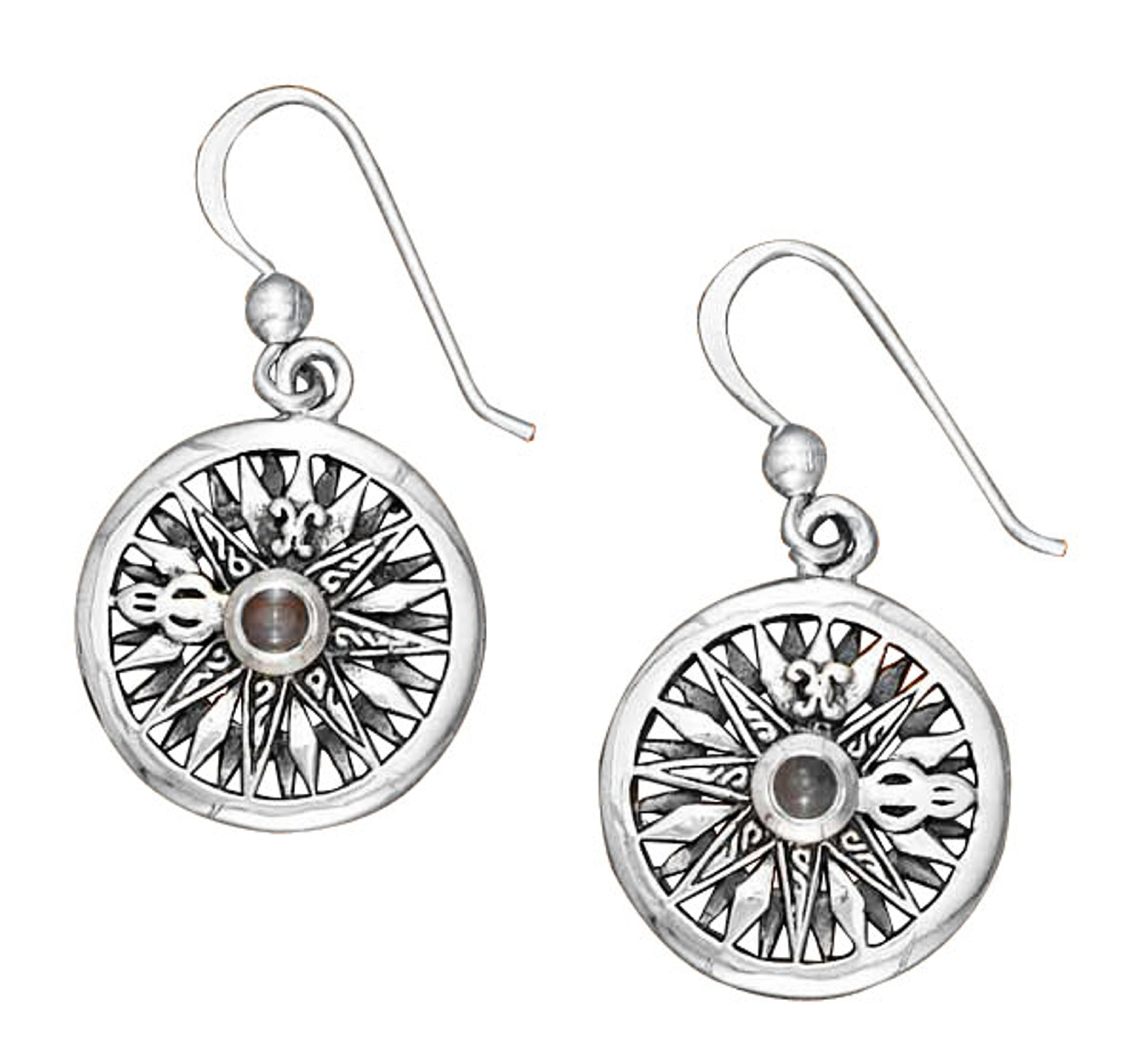 Compass Rose Blue Topaz Gemstone Earrings