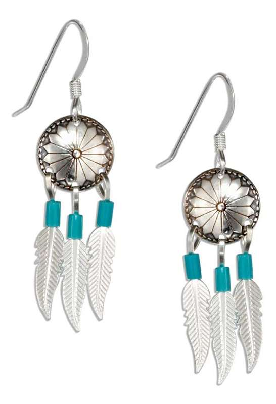 Concho Earrings Turquoise Heshi Beads Feathers