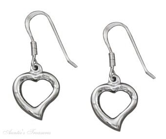 Contemporary Open Heart Dangle Earrings
