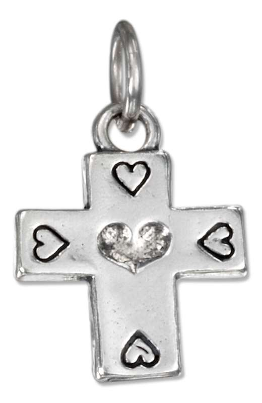 Christian Religious Cross Charm Five Hearts Charm