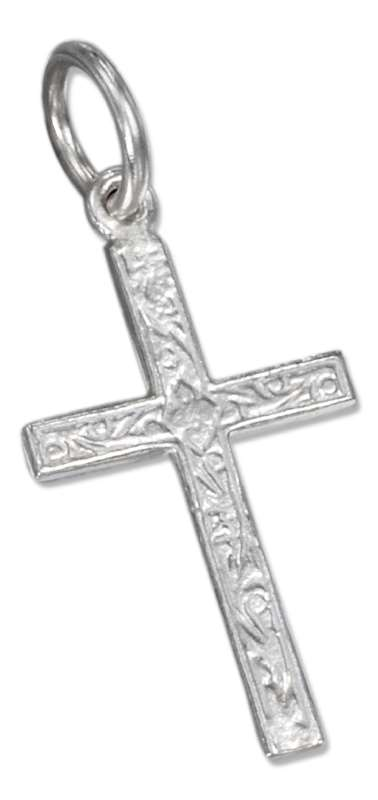 Textured Scrolls Cross Charm