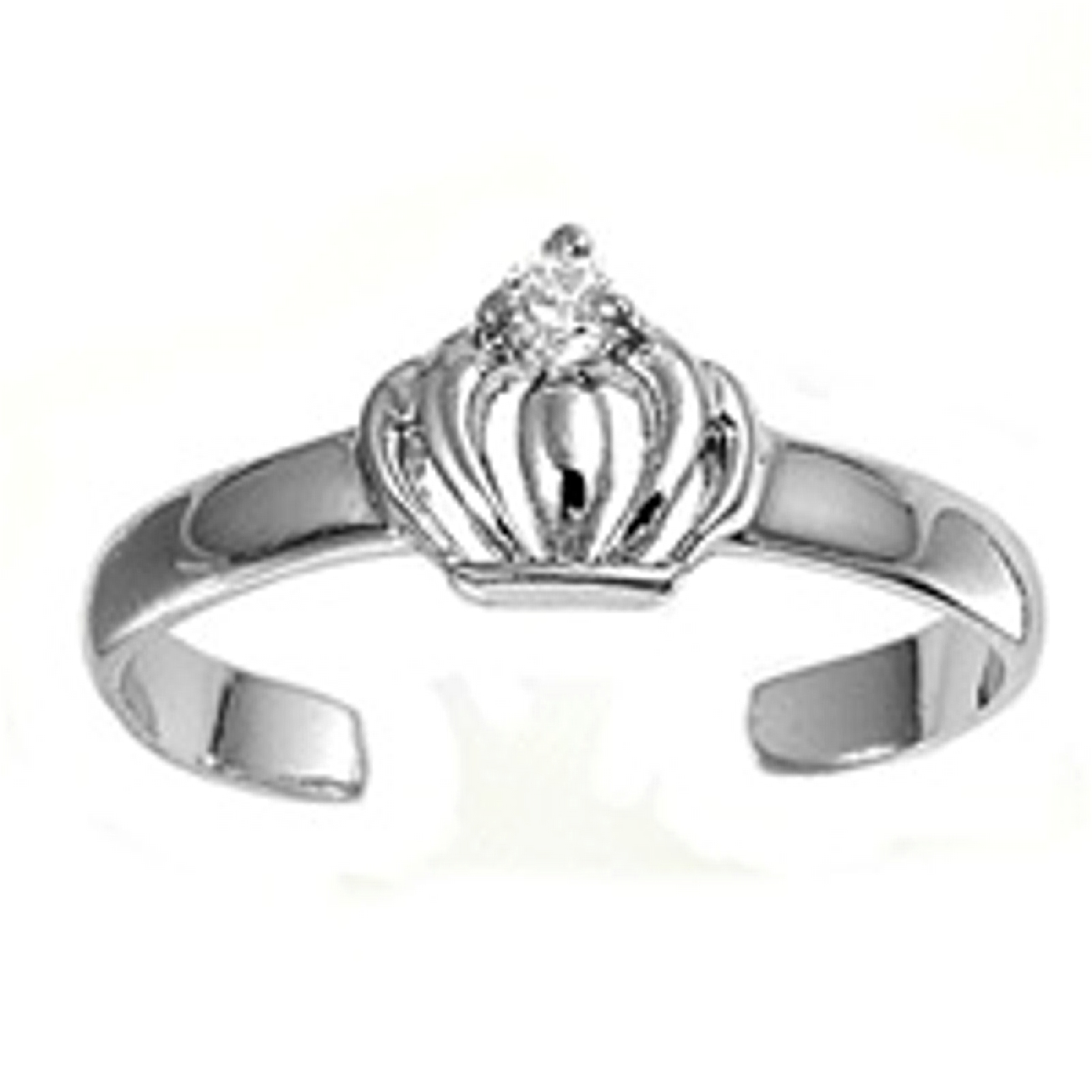 Crown With Clear Cubic Zirconia Adjustable Toe Ring