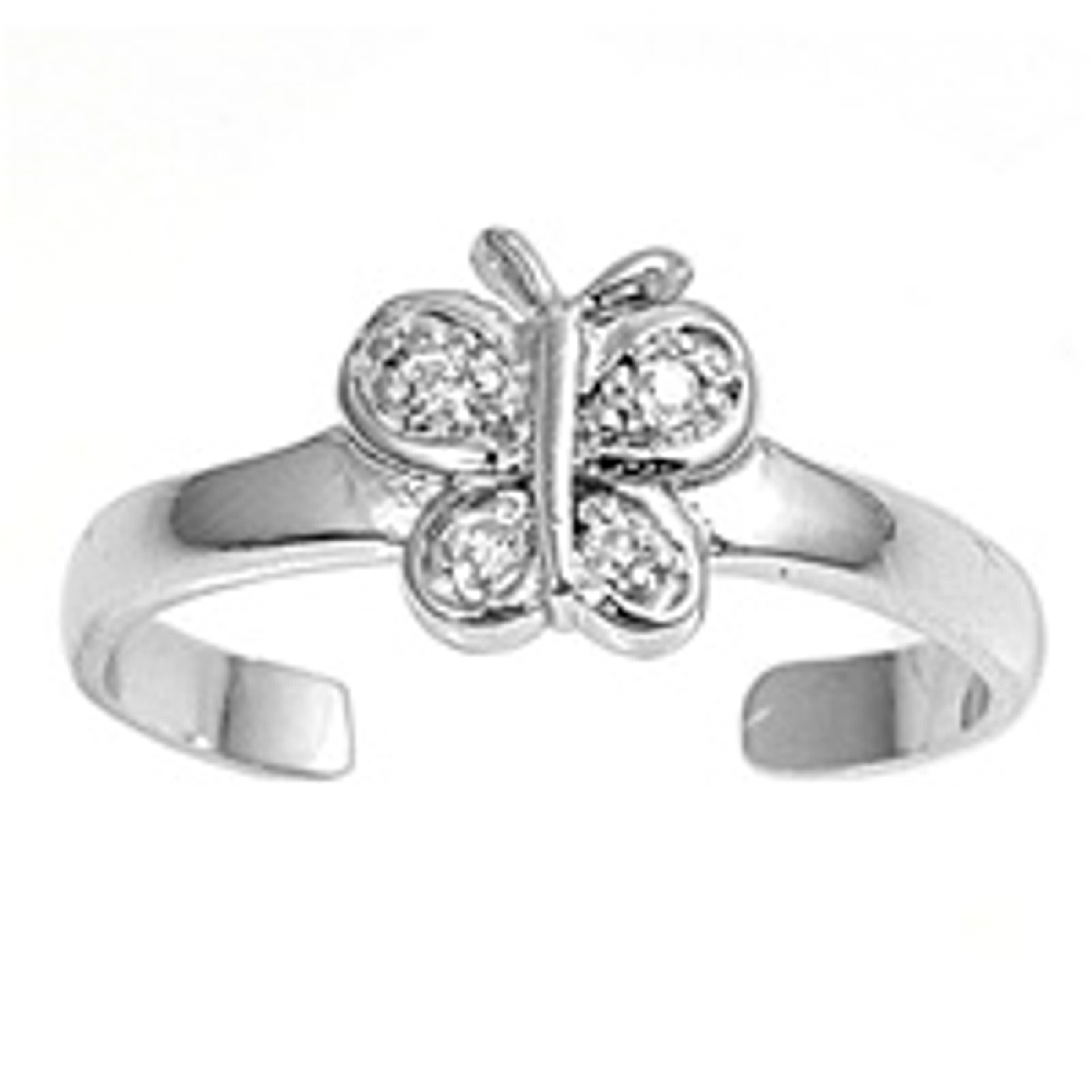 Clear Cubic Zirconia Butterfly Adjustable Toe Ring