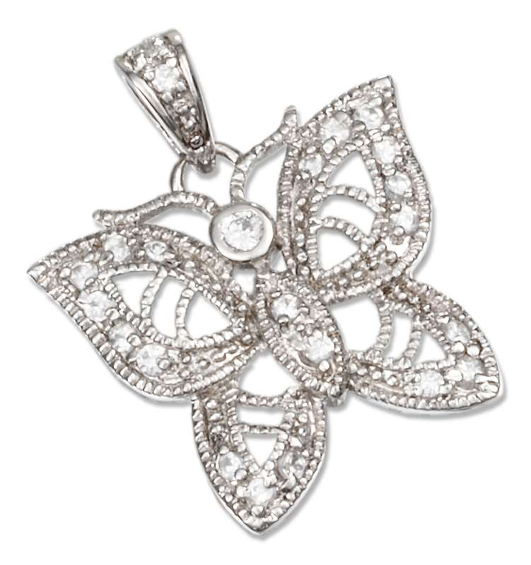 Cubic Zirconia Filigree Butterfly Pendant