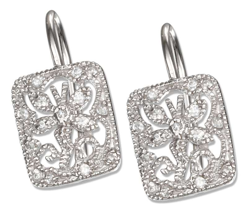 Cubic Zirconia Cut Out Butterfly Leverback Earrings