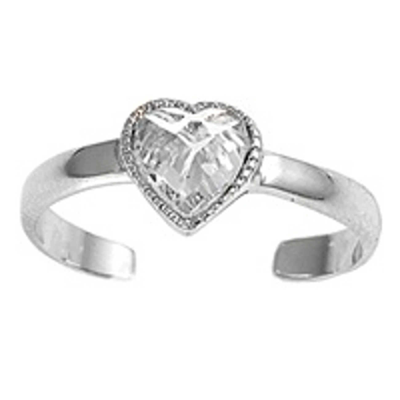 Cubic Zirconia Heart Adjustable Toe Ring