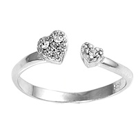 Clear Cubic Zirconia Hearts Bypass Wrap Adjustable Toe Ring
