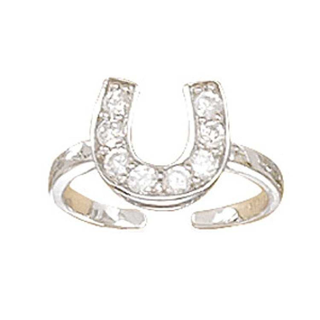 Cubic Zirconia Horseshoe Adjustable Toe Ring