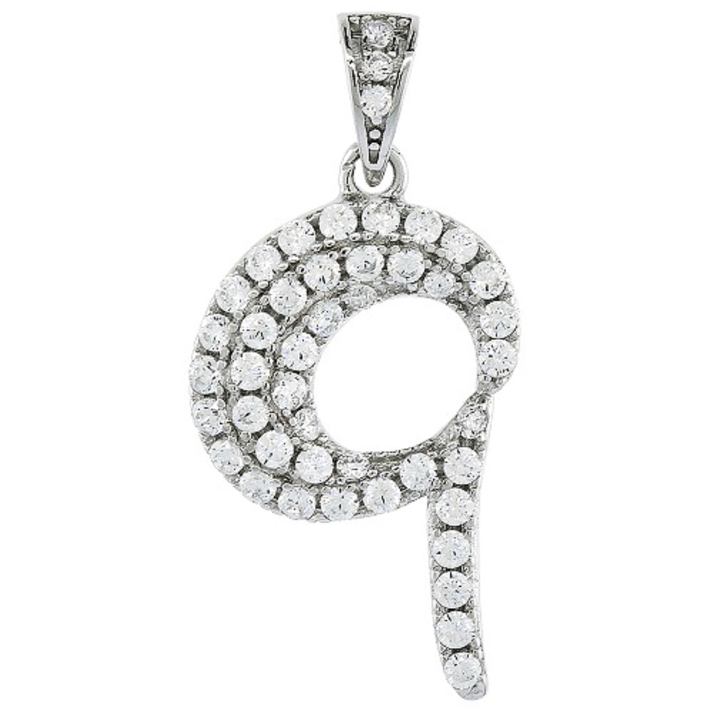 Sterling Silver Cubic Zirconia Number Nine 9 Pendant